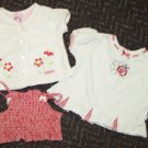 Baby Q and Healthtex Three Infant Girls Tops White Red Size 12 Months EUC Box8