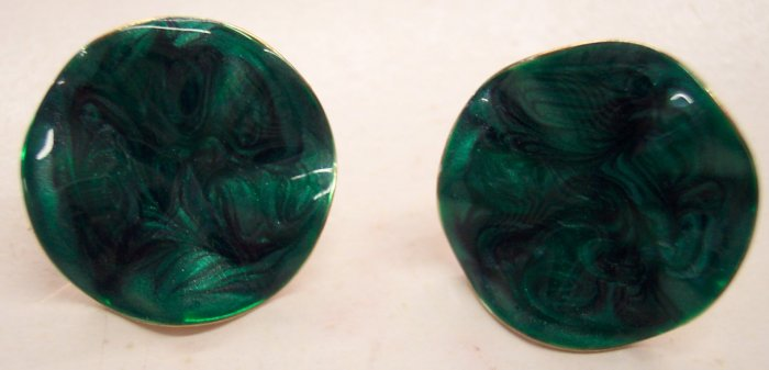Vintage Avon Clip Earrings Goldtone Green Swirl Enamel Fronts 101-447