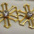 Sweet SNOWFLAKE PIERCED EARRINGS Rhinestone Studs 109-252 Vintage Costume Jewelry