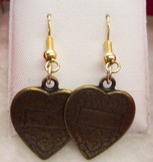 Vintage PIERCED HEART Drop EARRINGS Bronze Embossed 118-138 Costume Jewelry