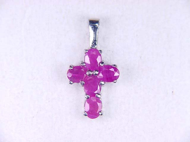 1 CT Natural Ruby Sterling Cross Pendant 925