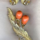 Sarah Coventry Faux Coral Goldtone Pin and Clip Earring Set Demi Parure 101-4026