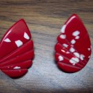 Vintage Red Pierced Heavy Plastic Earrings Costume Jewelry 101-0013ear
