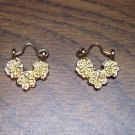 Sweet Vintage Pierced Goldtone Earrings 101-3789 Costume Jewelry Altered Art