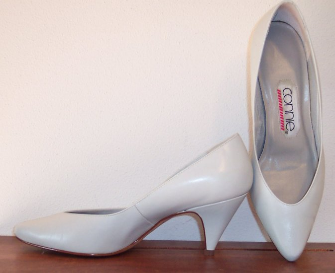 Vintage Gray Connie Pointy Toe Pumps Shoes Slides Size 7 B 661-3