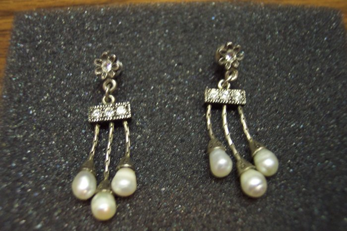 Vintage 1928 Silver Rhinestone and Pearl Drop PIERCED EARRINGS 101-229 Costume Jewelry