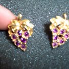 Vintage Avon GRAPE Rhinestone Cluster Goldtone PIERCED Earrings101-3805 Costume Jewelry