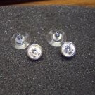 Sweet Vintage Round Rhinestone Silvertone Pierced Earrings 101-1474