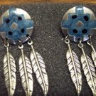 Vintage WESTERN Antique Silvertone PIERCED Drop EARRINGS 101-009ear Altered Art Costume Jewelry