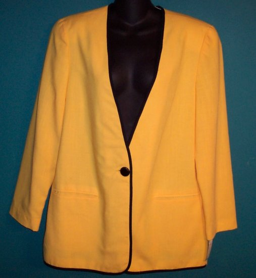 The Villager Sporty Yellow Black Trim Jacket Blazer Size 14 - 16 101-14hjacket