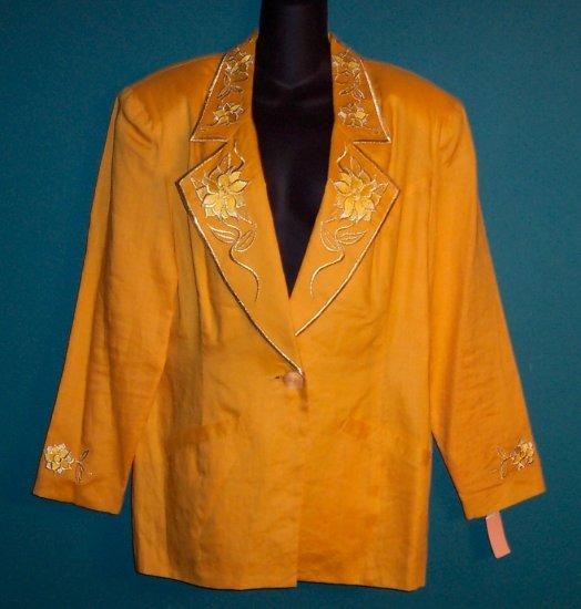 To To N Ko ToToNKo Vintage Sporty Yellow Jacket Blazer Size 14 16 101-12hjacket