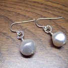 Elegant Silvertone Faux White Pearl Drop Pierced Earrings 101-05ear Vintage Costume Jewelry