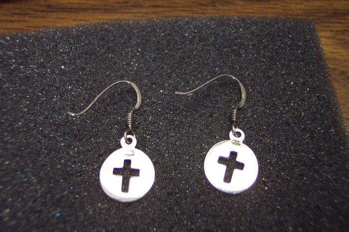 Vintage Sterling 925 Pierced Religious Drop Earrings Cross Center Discs 101-01ear