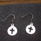 Vintage Sterling 925 Pierced Religious Drop Earrings Cross Center Discs 101-01ear