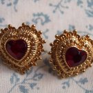 Vintage Goldtone HEART with Ruby Colored Cabachons PIERCED EARRINGS 101-3779