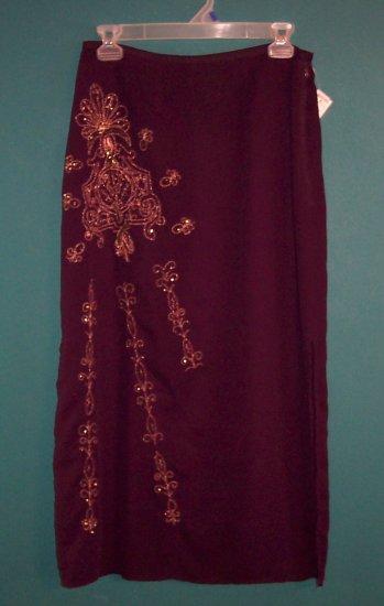 Nine and Company Long Plum Hippie Retro Career Skirt ~ 8 box9