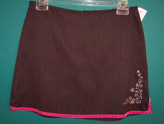 Vintage TagRag Tag Rag Brown Pink Pinstripe Mini Skirt Junior 5 Small 141-420 locationw4