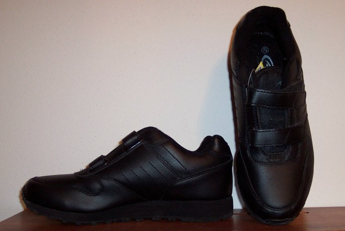 Athletic Works ~ Nancy ~ Black Sneakers ~ Velcro Closure ~ Size 7.5 7 1/2 ~ 678-66