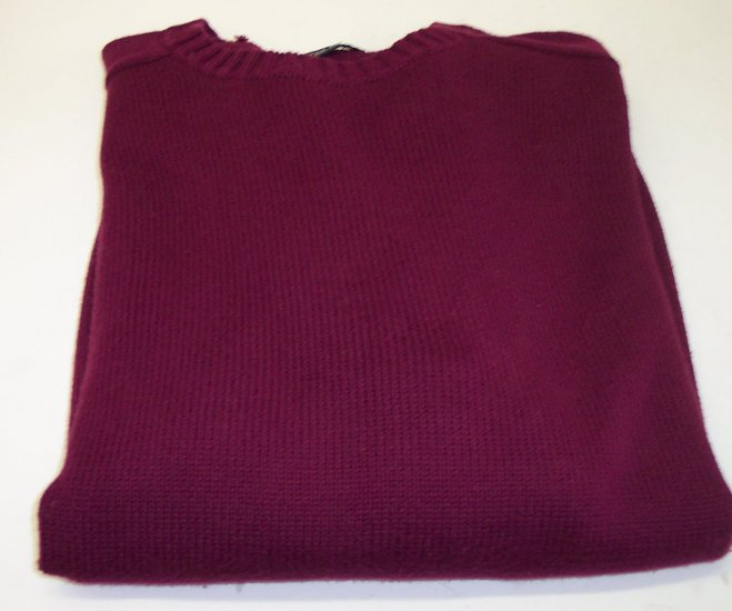 Lands End Men's Cotton Sweater Crew Neckline ~ Like New ~ XL ~ Burgundy ~ 660-67