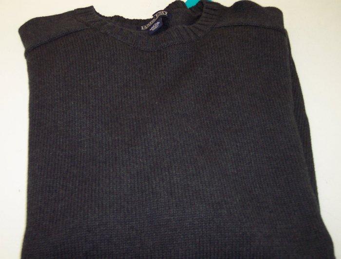 Lands End Men's Cotton Sweater Crew Neckline ~ Like New ~ XL ~ Charcoal ~ 660-66