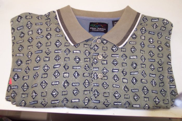 Greg Norman Men's Short Sleeve Polo Shirt ~ XL ~ Taupe Abstract Shapes Print ~ 616-121