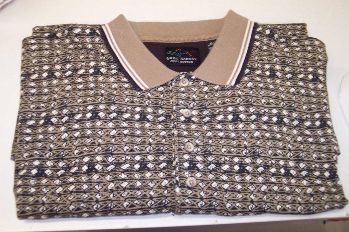 Greg Norman Men's Short Sleeve Polo Shirt ~ Khaki Black Abstract Diamond Print ~ XL ~ 616-119