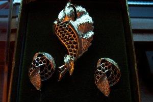 Vintage Schultz Brothers Demi Parure Brooch Pin Clip Earrings Jewelry Set Original Box h02