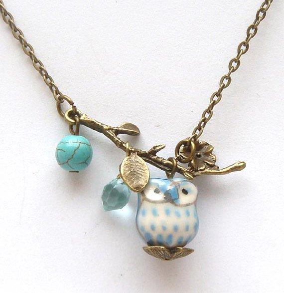 Antiqued Brass Leaf Turquoise Quartz Porcelain Owl Necklace