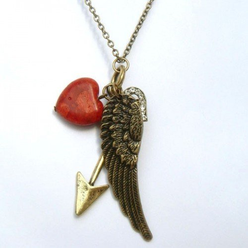 Antiqued Brass Crystal Heart Arrow Wing Red Sponge Coral Necklace