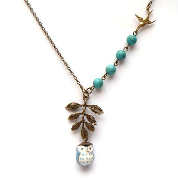 Antiqued Brass Leaf Bird Turquoise Porcelain Owl Necklace