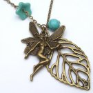 Antiqued Brass Leaf Angel Turquoise Czech Glass Flower Necklace