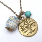 Antiqued Brass Tree Turquoise Porcelain Owl Necklace