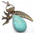 Antiqued Brass Wing Bird Flower Green Turquoise NecklaceFrom gemandmetal