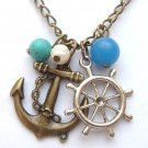 Antiqued Brass Anchor Helm Agate Turquoise Pearl Necklace