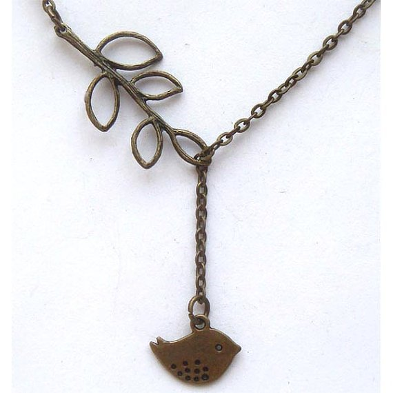 Antiqued Brass Leaf Bird Necklace