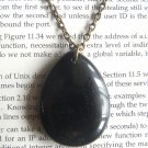 Natural Black Stone Teardrop Pendant Brass Necklace Handmade Vintage Style