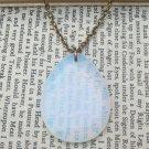 Opalite Teardrop Pendant Brass Necklace Handmade Vintage Style