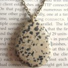 Natural Dalmatian Jasper Teardrop Pendant Brass Necklace Handmade Vintage Style