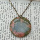 Natural Unakite Disc Pendant Brass Necklace Handmade Vintage Style