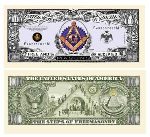 (10) FREEMASON - MASONIC MILLION DOLLAR BILLS