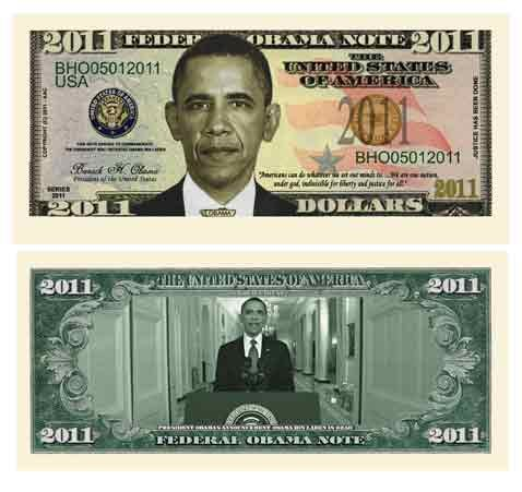 (10) BARACK OBAMA 2011 COMMEMORATIVE NOVELTY DOLLAR BILL