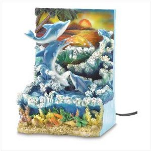 Tropical Dolphin Sunset Indoor Tabletop Water Fountain