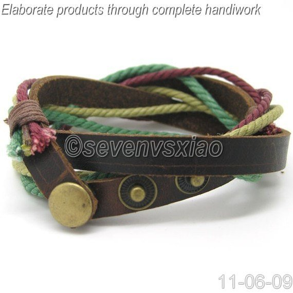 Leather and Rope Woven Bracelets Adjustable 3S