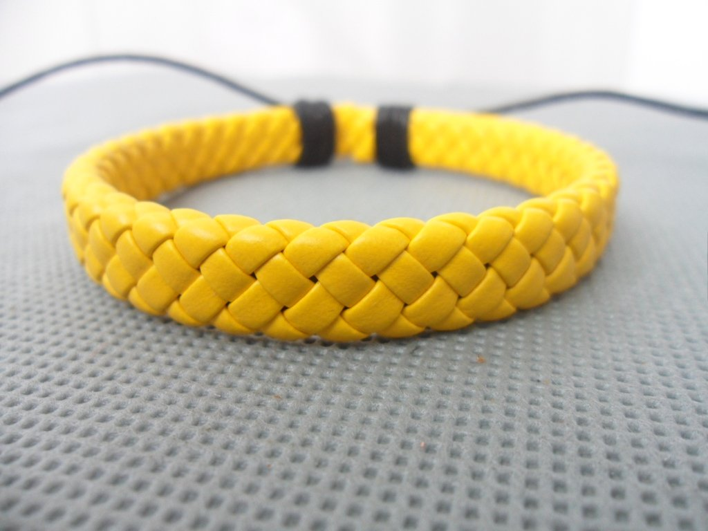 Adjustable yellow leather Cotton Rope Woven Bracelets 4S