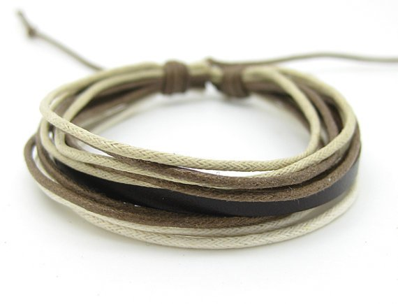 Cuff Bracelet Made Of Multicolour Cotton Paraffined Ropes Woven adjustable 6S