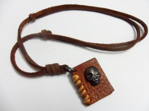 Brown real Leather alloy skull and book pendant adiustable necklace N5