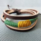 Real Leather and Multicolour Cotton Rope Woven Bracelets Adjustable 11S