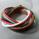 Real Leather and Multicolour Cotton Rope cuff Bracelets Adjustable 14S