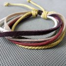 Real Leather and Multicolour Cotton Rope cuff Bracelets Adjustable 15S