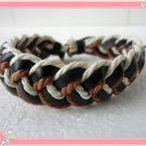Adjustable black leather and Multicolour cotton ropes bracelet 19S